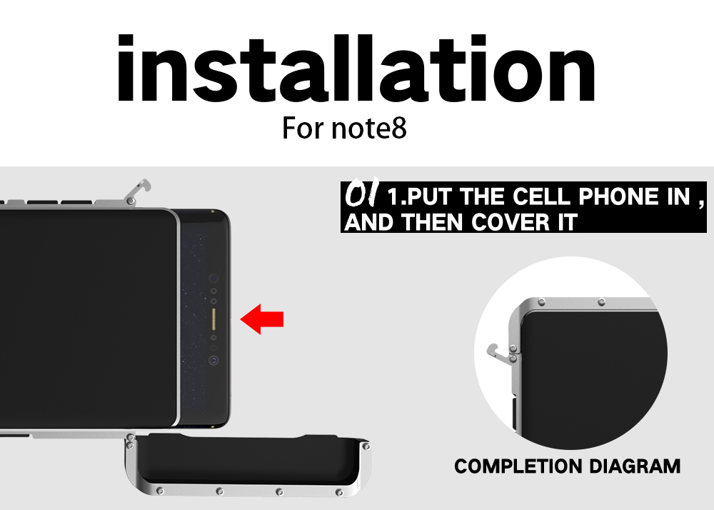 Galaxy Note8 耐衝撃ケース 手帳型 メタルケース