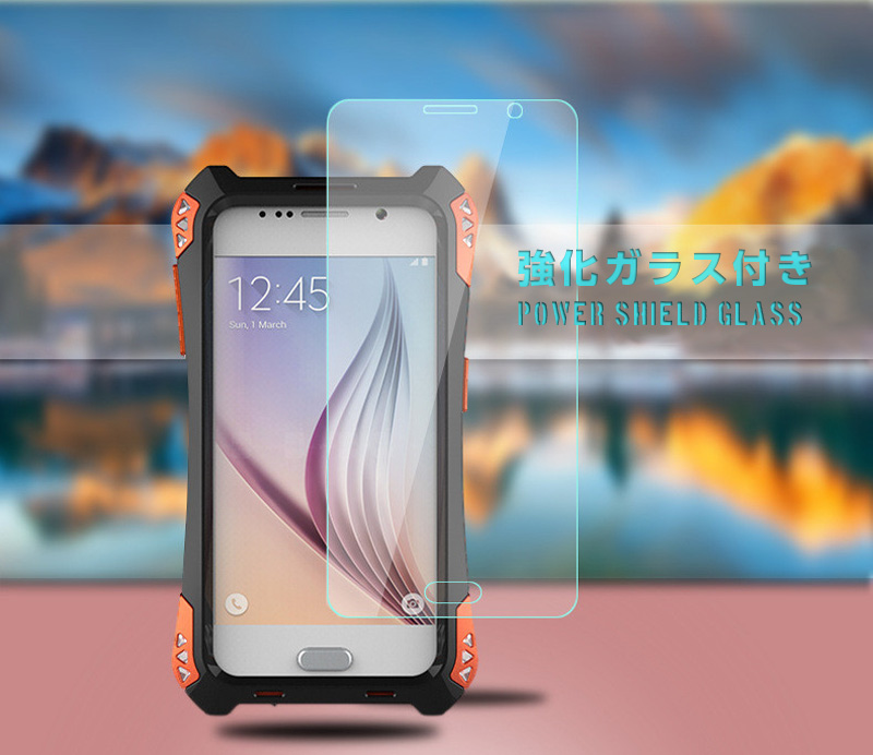 ebfb997cc9 Galaxy S6 耐衝撃 ミリタリーケース アウトドア 軽量 メタルフレーム 強化ガラスシールド付き 頑丈でタフケース 最強系アーマーギア