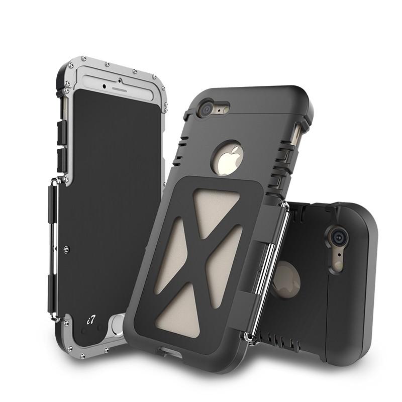 iPhone8 耐衝撃ケース 横開き メタルケース