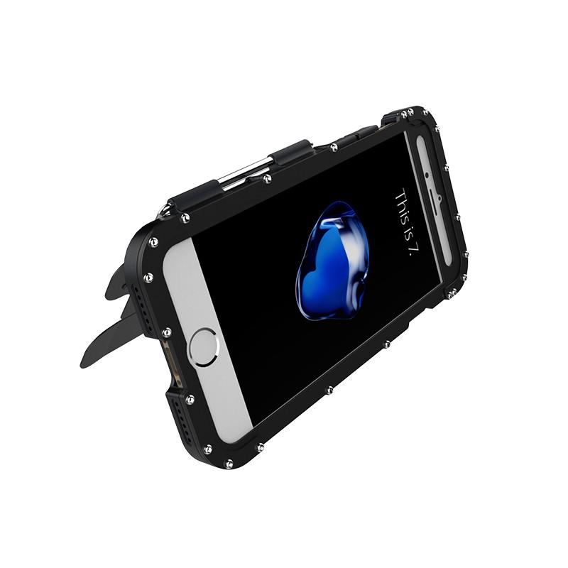 iPhone8 耐衝撃ケース 手帳型 メタルケース