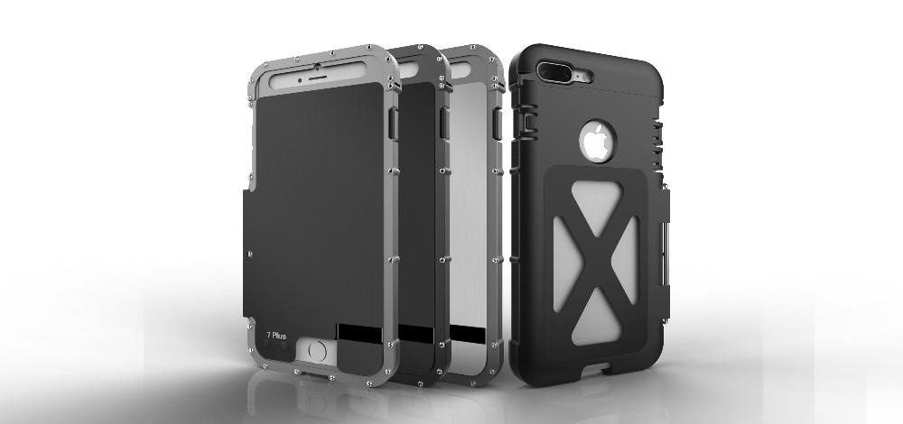 iPhone7 Plus 耐衝撃ケース 横開き メタルケース