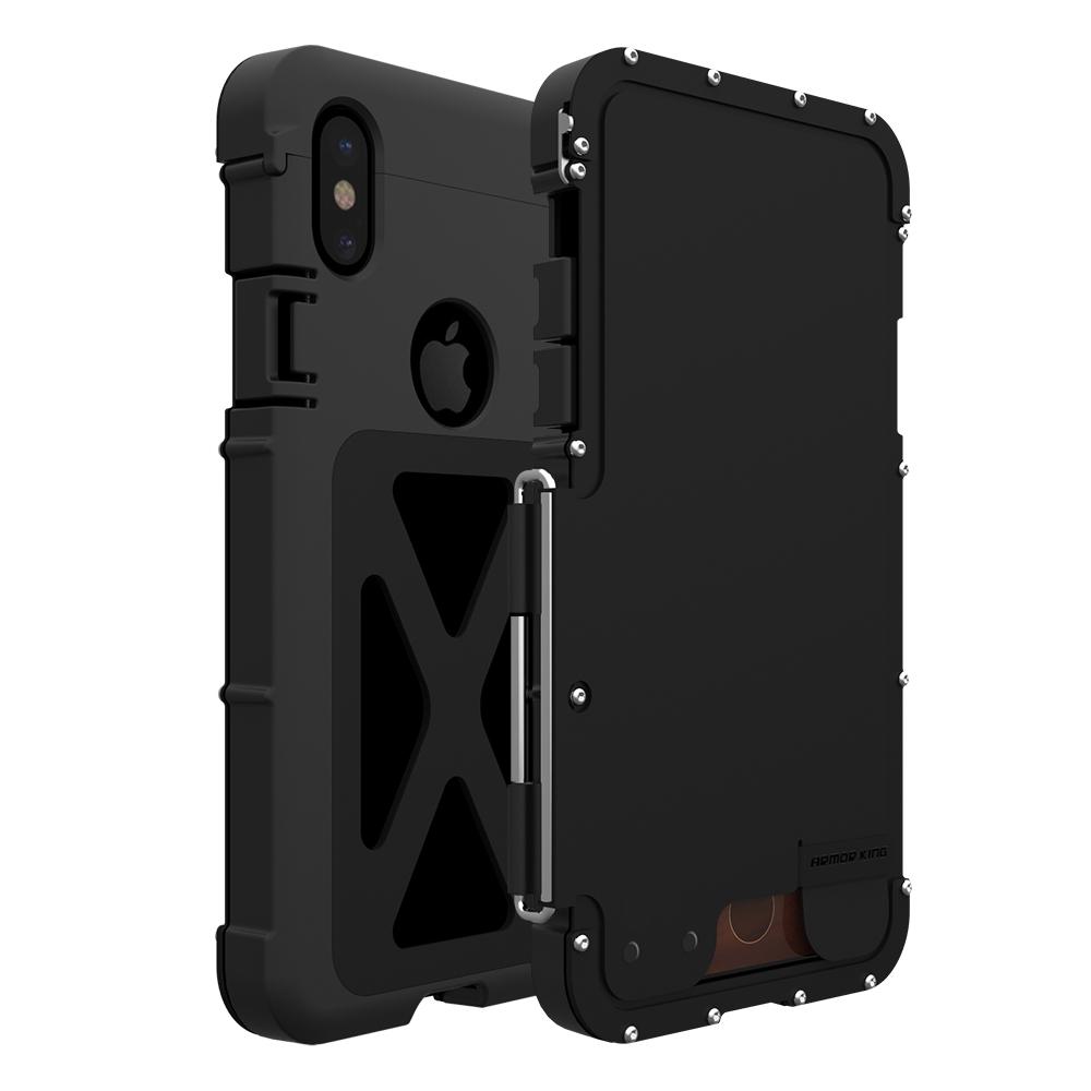 iPhone XR 耐衝撃ケース 横開き メタルケース