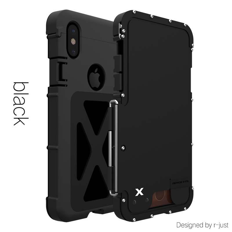 アイフォン XR 耐衝撃ケース 横開き メタルケース