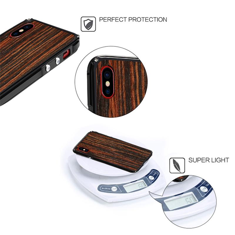 iPhone X 木製金属ケース